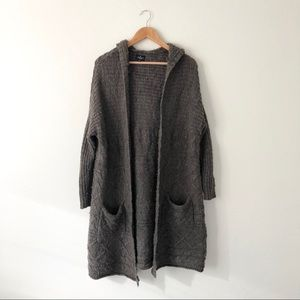AE Brown Long Open Cardigan